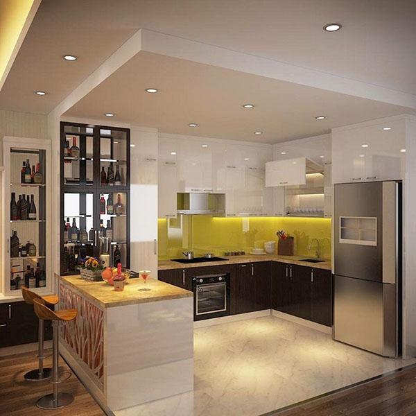 Thiết kế quầy bar ở bếp đẹp