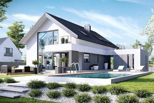 Biệt thự 1 tầng hiện đại có thiết kế bể bơi