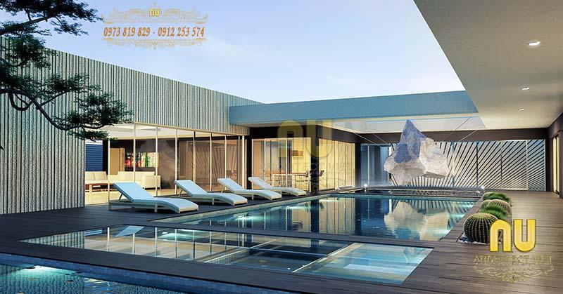 Mẫu biệt thự hiện đại được thiết kế như căn biệt thự nghỉ dưỡng