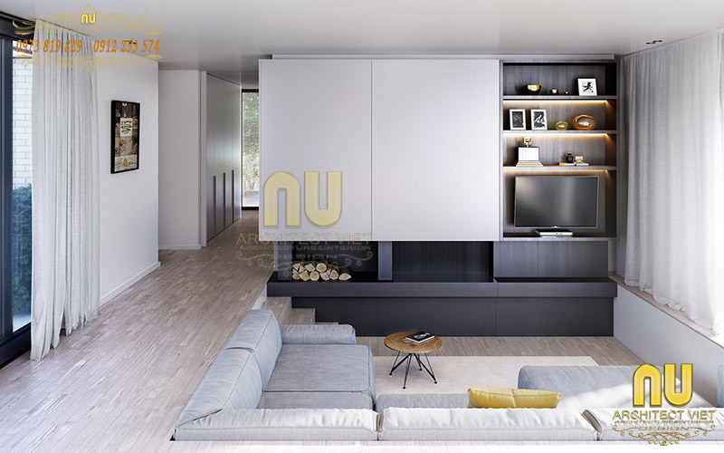 Thiết kế biệt thự sang trọng với phòng khách hiện đại