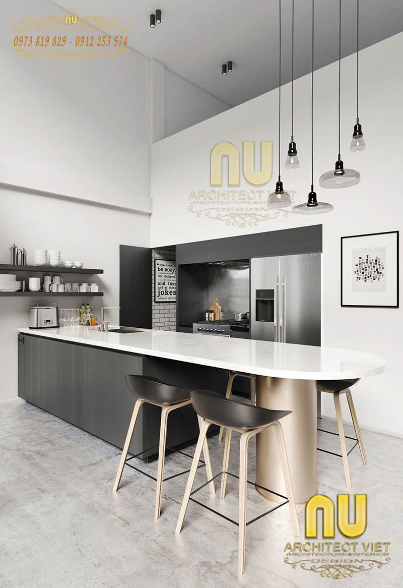 Thiết kế phòng bếp ăn phong cách hiện đại tối giản