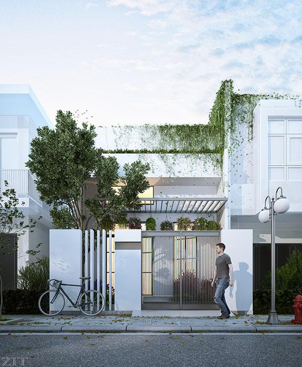 toàn cảnh thiết kế nhà phố mini có gara