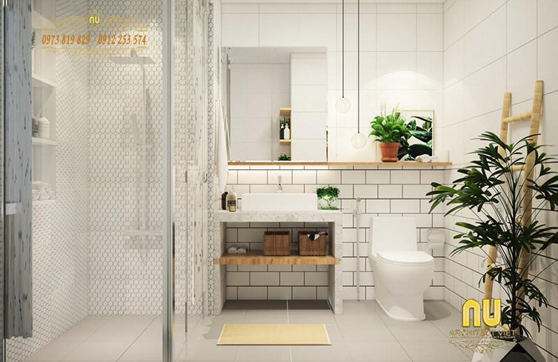 Nhà tắm đơn giản mà bắt mắt nhờ tông trắng tinh khiết