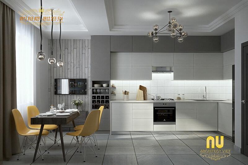 thiết kế phòng bếp với gam màu trung tính hiện đại, nhã nhặn