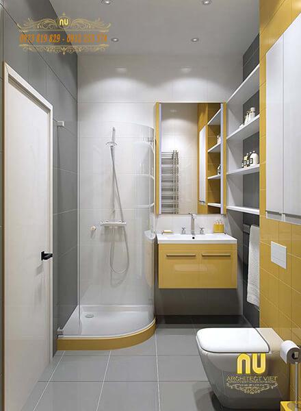 Màu vàng tạo điểm nhấn cho phòng tắm thêm sinh động