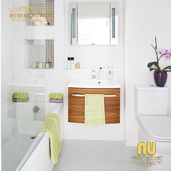 Thiết kế nội thất nhà tắm đơn giản nhưng vẫn đảm bảo sự tiện nghi cho gia đình khi sử dụng