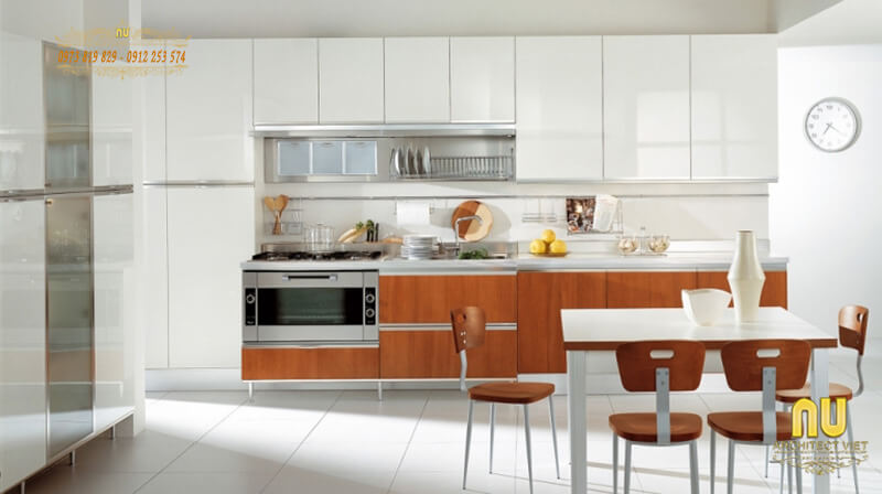 Thiết kế nội thất phòng bếp hài hòa, cân đối với không gian
