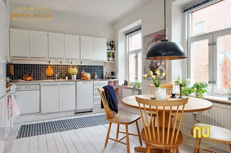 phòng bếp hiện đại, sang trọng với cách kết hợp màu sắc độc đáo