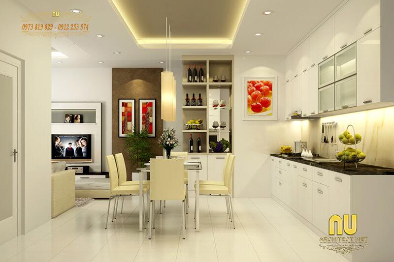 tông sáng cuốn hút khi thiết kế nội thất phòng bếp