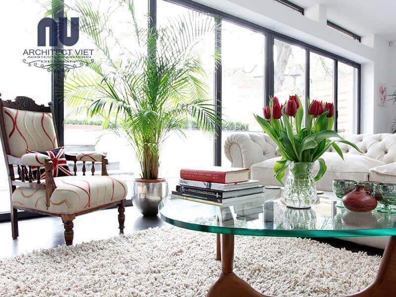 bố trí không gian xanh cho phòng khách