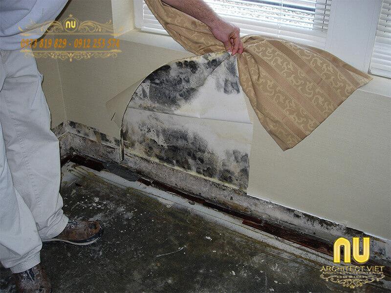 tường bị thất nước do đường ống nước rò rỉ