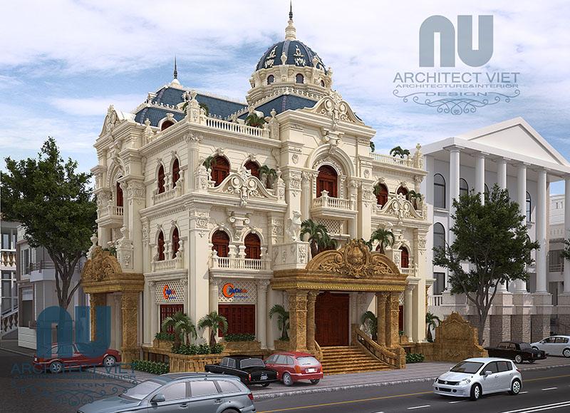 thiết kế biệt thự 3 tầng 300m2 cổ điển