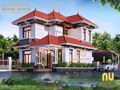 thiết kế biệt thự hiện đại 2 tầng mái thái 150m2