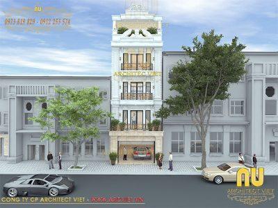 mẫu nhà phố 5 tầng tân cổ điển 70m2