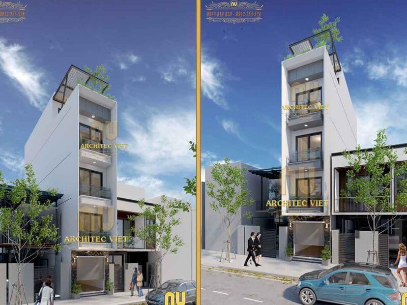 mẫu nhà phố 4 tầng 1 tum