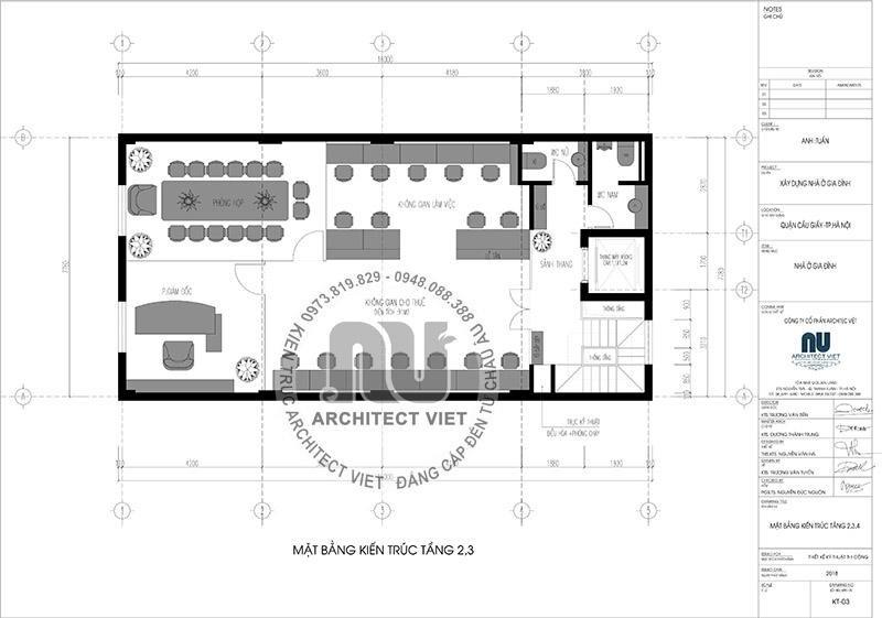 Mặt bằng kiến trúc tầng 2+3 được thiết kế làm không gian kinh doanh.