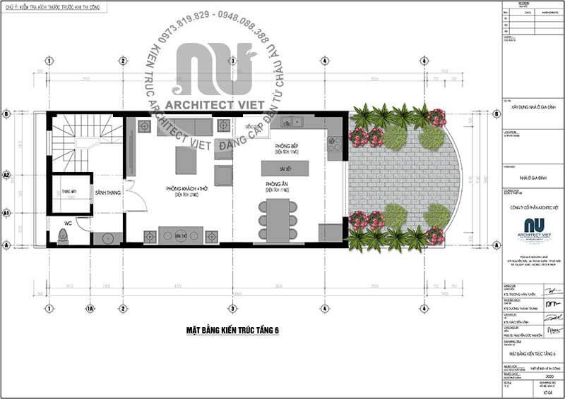 Mặt bằng kiến trúc tầng 6.
