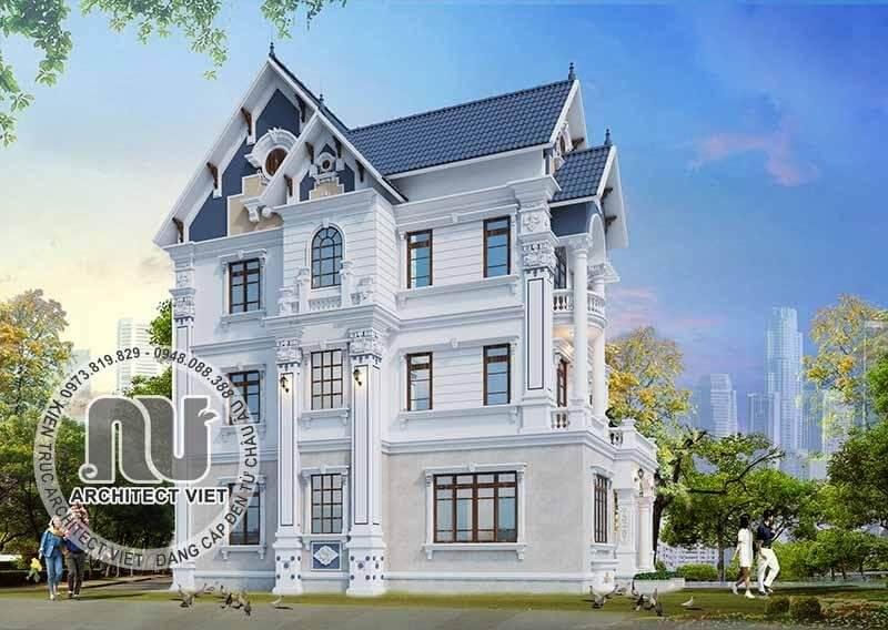 Phối cảnh 3D biệt thự pháp 3 tầng nổi bật với gam màu trắng.
