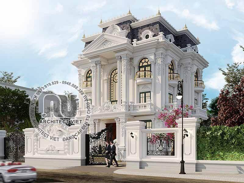 Dù nhìn từ góc cạnh nào thì biệt thự vẫn vô cùng nổi bật với gam màu trắng.