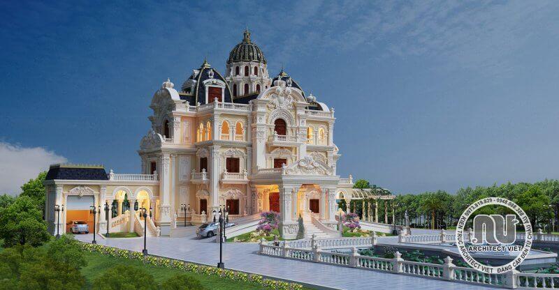 Biệt thự có kiểu mái lâu đài kiêu sa.