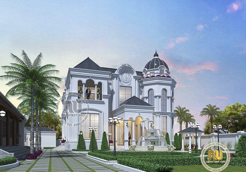 Mẫu biệt thự Pháp xa hoa được xây dựng trên khuôn viên rộng lớn.