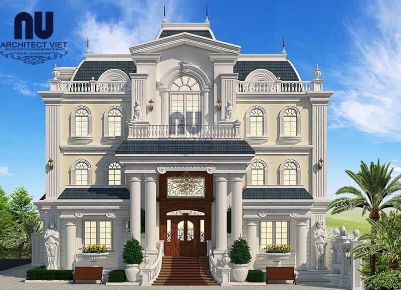 Vẻ đẹp bề thế của mẫu biệt thự 3 tầng tân cổ điển.