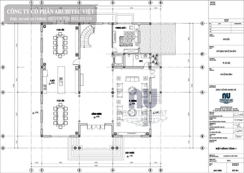 Mặt bằng kiến trúc tầng 1 biệt thự.
