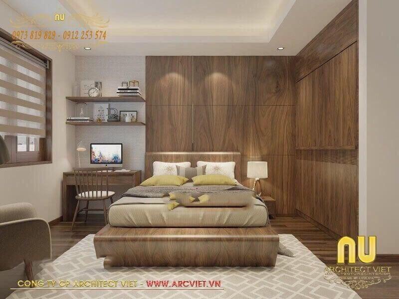 Nội thất 1 trong 3 phòng ngủ ấn tượng với chất liệu gỗ sang trọng, ấm áp.