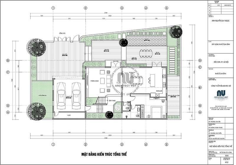 Mặt bằng kiến trúc tầng 1 trong biệt thự mái nhật 2 tầng.