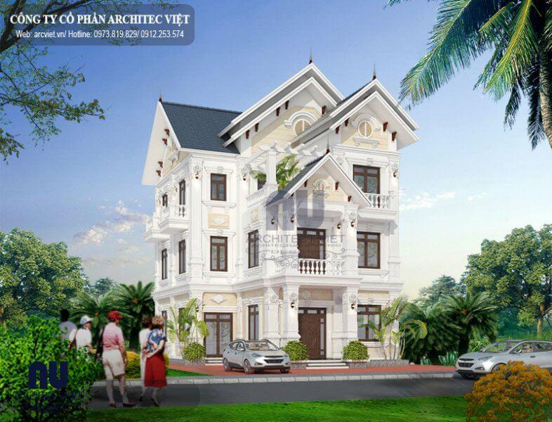Biệt thự mái thái 150m2 phong cách tân cổ điển bề thế.
