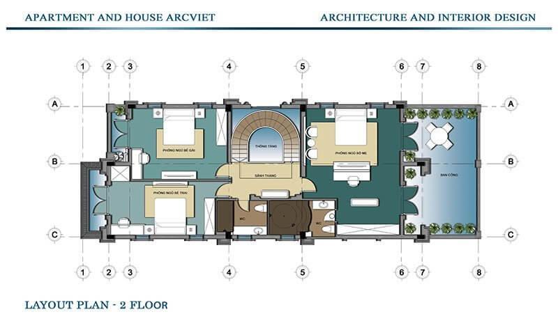 Mặt bằng kiến trúc tầng 2.