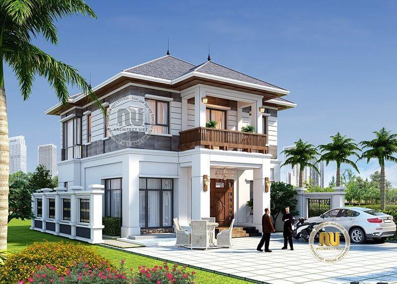 Thiết kế biệt thự vườn 2 tầng phù hợp với phong thủy của gia chủ.