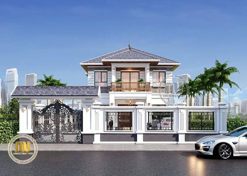 Biệt thự vườn 2 tầng được thiết kế theo phong cách kiến trúc hiện đại ấn tượng.