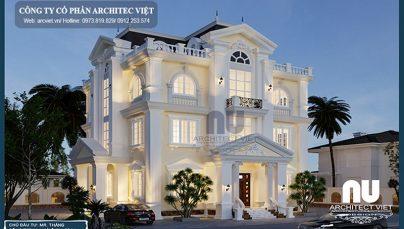 Mẫu biệt thự 3 tầng tân cổ điển 190m2 với màu trắng tinh khôi khó quên