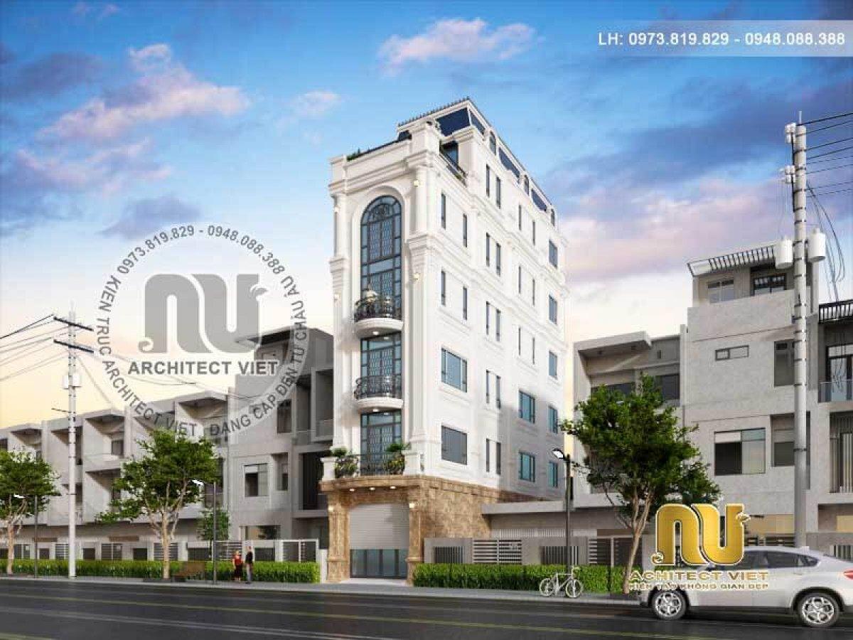 Nhà phố kết hợp kinh doanh 6 tầng nổi bật với chất liệu kính hiện đại