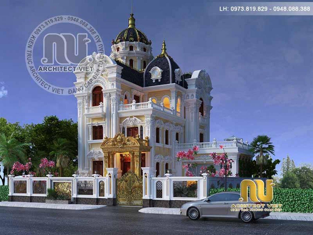 Thiết kế biệt thự Pháp 200m2 ấn tượng với mái vòm lâu đài tráng lệ