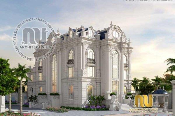 Thiết kế biệt thự Pháp 450m2 tân cổ điển đầy cuốn hút