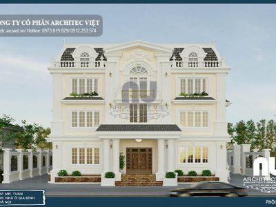 Biệt thự tân cổ điển 340m2 với ngoại thất màu trắng tinh tế
