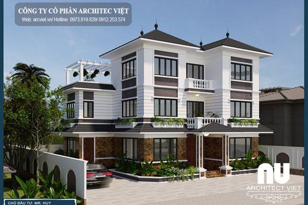 Biệt thự hiện đại 3 tầng 125m2 với cách phối hợp màu sắc khéo léo