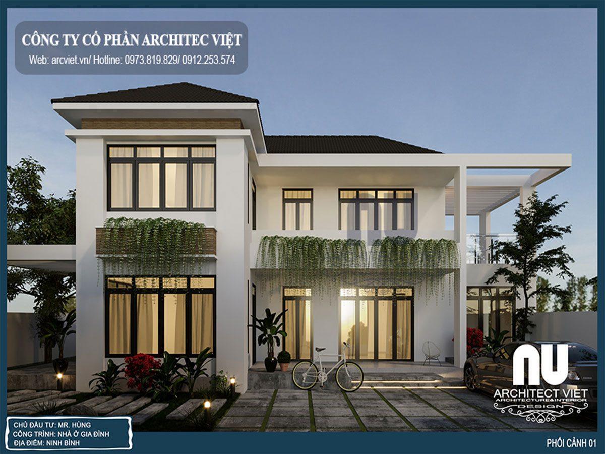 Mẫu biệt thự 2 tầng chữ L 130m2 xinh đẹp nổi bật cả vùng quê Ninh Bình