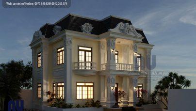 Mẫu biệt thự 2 tầng tân cổ điển 100m2 tại Ninh Bình được yêu thích trong 2018