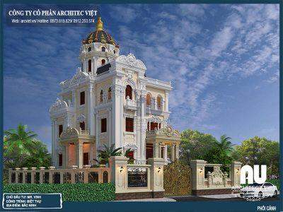 Mẫu biệt thự phong cách cổ điển 3 tầng 180m2 tuyệt đẹp