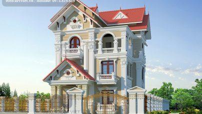 Hà Nội nổi bật với căn biệt thự 3 tầng mái thái mặt tiền 11m sang trọng