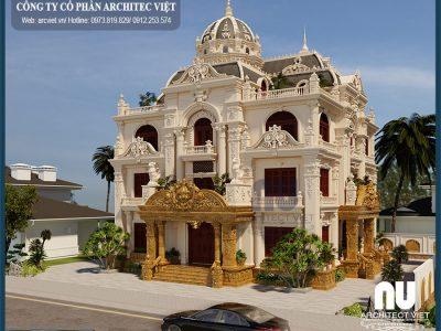 Thiết kế biệt thự 3 tầng cổ điển 190m2 kiểu Pháp sang trọng tinh tế