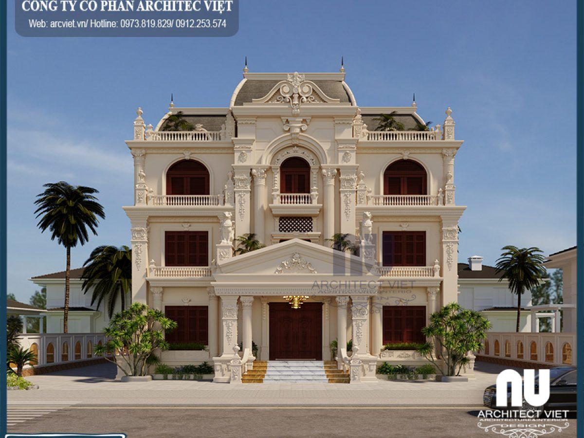 Biệt thự 3 tầng 4 phòng ngủ 190m2 kiến trúc cổ điển