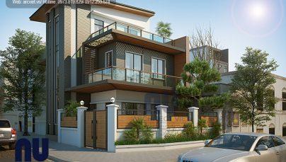 Thiết kế biệt thự hiện đại 3 tầng 2 mặt tiền diện tích 110m2