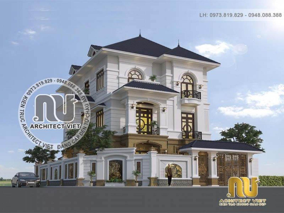 Biệt thự 3 tầng mái Nhật tân cổ điển ấn tượng ở Hà Tĩnh
