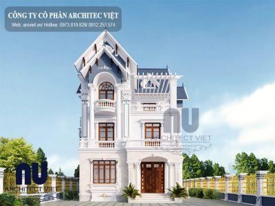Ngôi biệt thự pháp 3 tầng mặt tiền 10m với mái thái