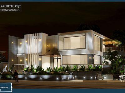 Thiết kế biệt thự phố 2 tầng 210m2 phong cách hiện đại