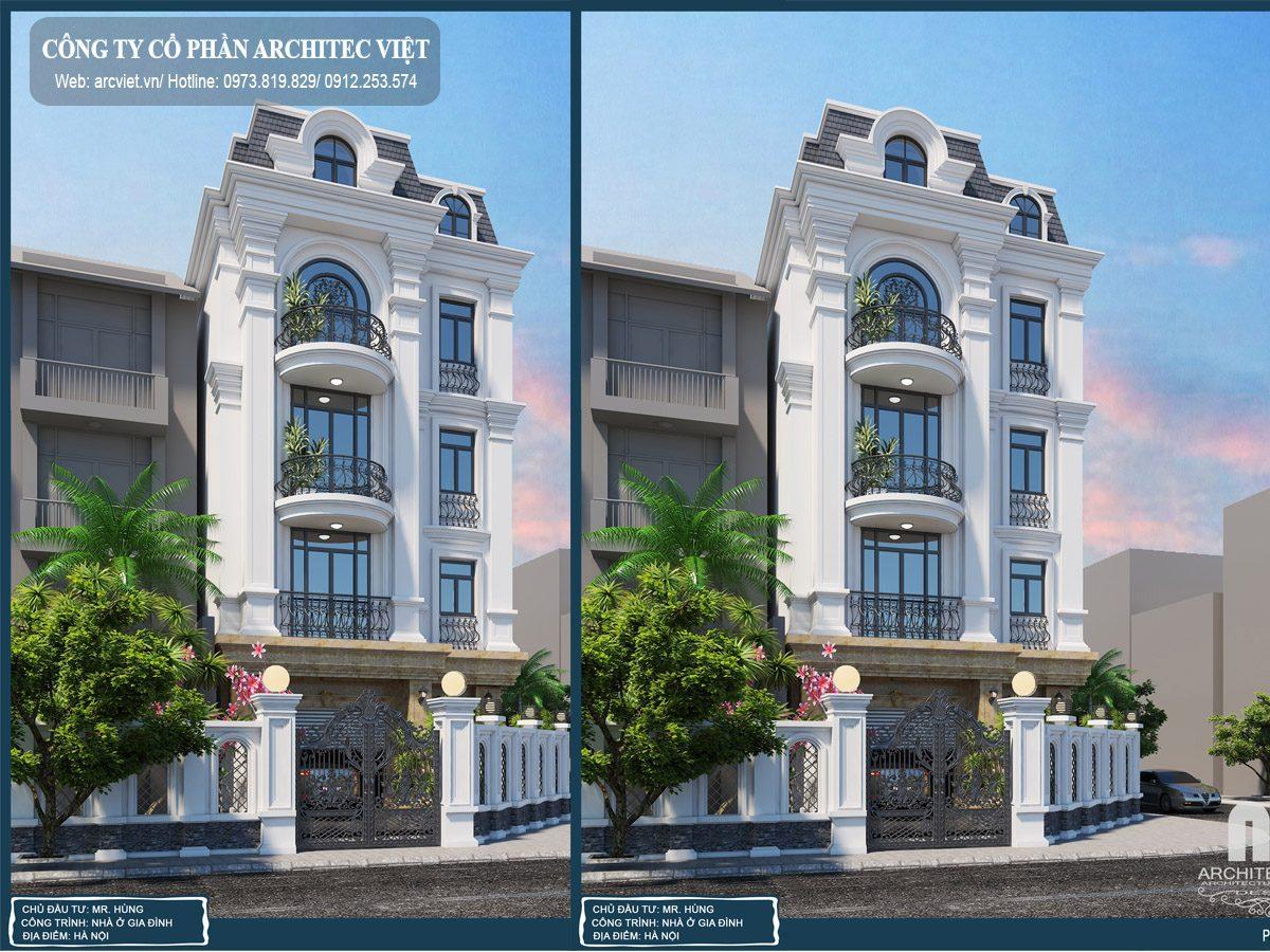 Mẫu nhà biệt thự tân cổ điển đẹp 4 tầng diện tích 135m2